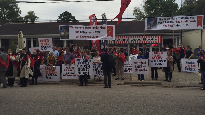 Protest outside the Greater Church of Lucifer