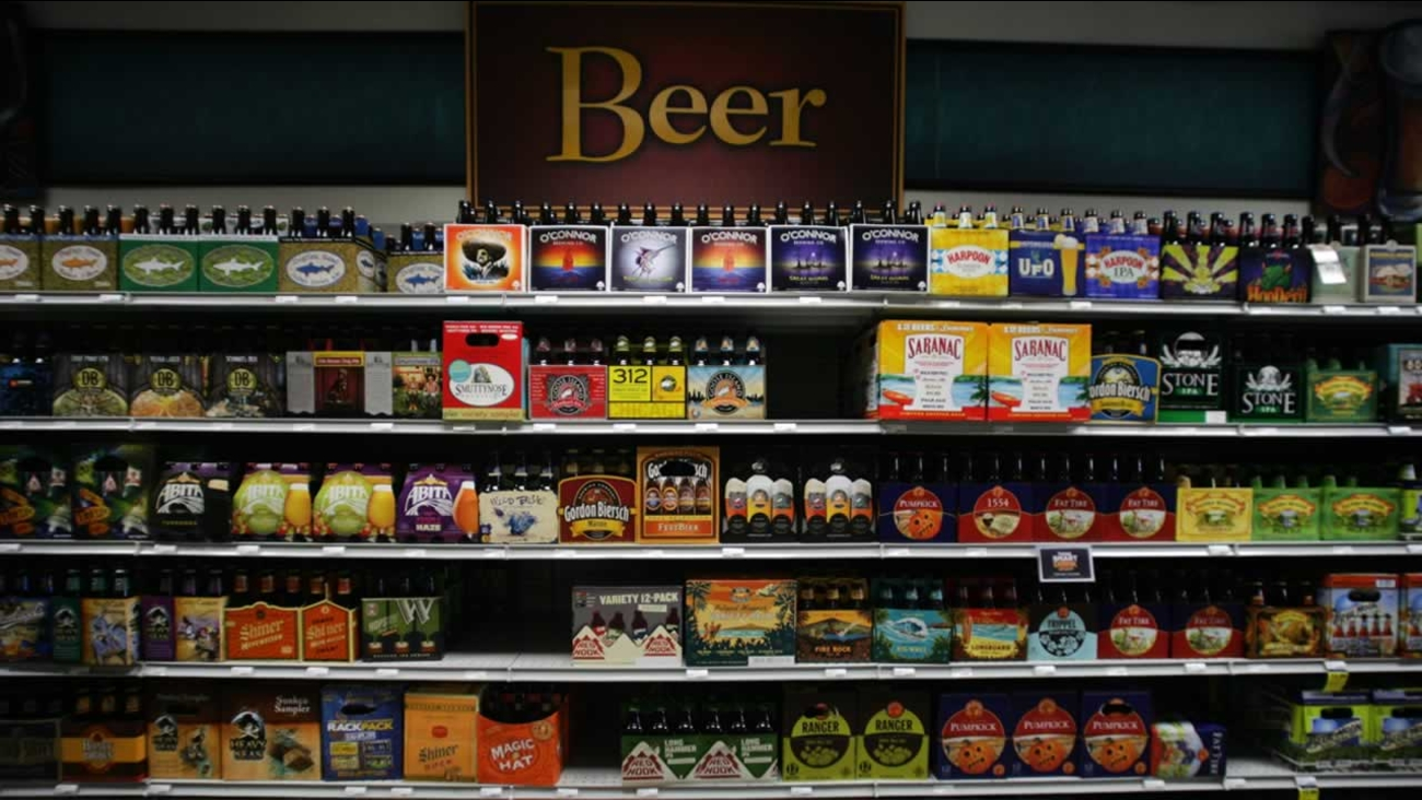 In this July 31, 2013 photo, beer is displayed for sale.
