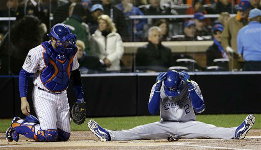 "<div class=""meta image-caption""><div class=""origin-logo origin-image none""><span>none</span></div><span class=""caption-text"">Kansas City Royals' Alcides Escobar reacts after nearly hit by a pitch during the first inning of Game 3. (AP Photo/ David J. Phillip)</span></div>"