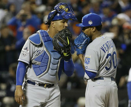 "<div class=""meta image-caption""><div class=""origin-logo origin-image none""><span>none</span></div><span class=""caption-text"">Kansas City Royals catcher Salvador Perez talks to pitcher Yordano Ventura during the fourth inning of Game 3. (AP Photo/ David J. Phillip)</span></div>"
