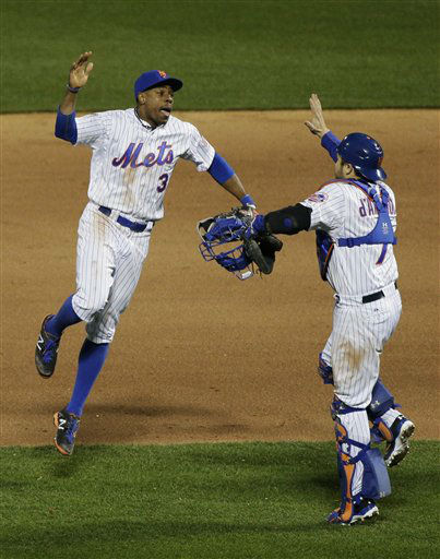 "<div class=""meta image-caption""><div class=""origin-logo origin-image none""><span>none</span></div><span class=""caption-text"">New York Mets right fielder Curtis Granderson (3) celebrates with Travis d'Arnaud. (AP Photo/ Julie Jacobson)</span></div>"