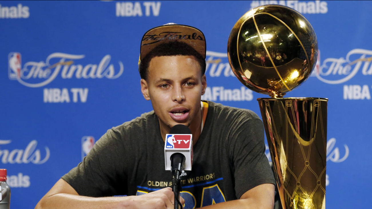 Stephen Curry at a news conference after Game 6 of basketball's NBA Finals against the Cleveland Cavaliers, in Cleveland, Wednesday, June 17, 2015.