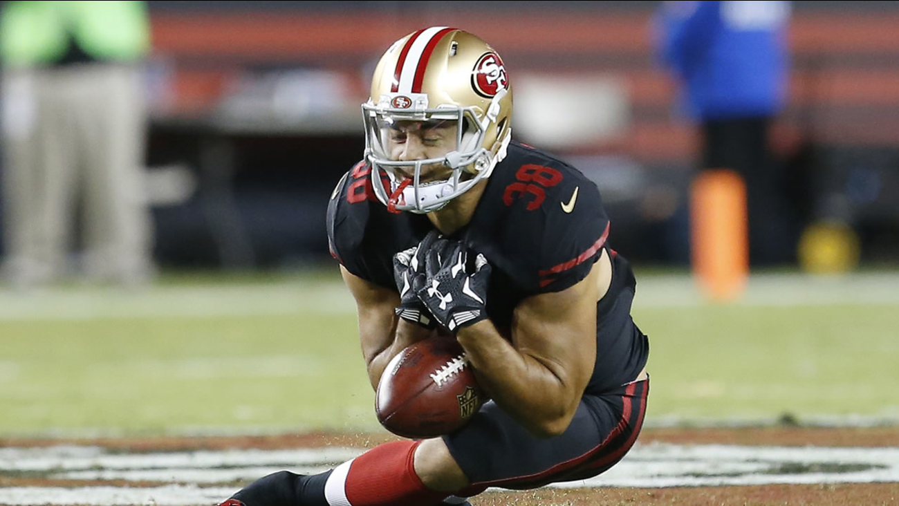 San Francisco 49ers' Jarryd Hayne fumbles a punt during the first half of an NFL football game in Santa Clara, Calif., Monday, Sept. 14, 2015.