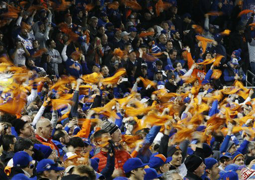 "<div class=""meta image-caption""><div class=""origin-logo origin-image none""><span>none</span></div><span class=""caption-text"">New York Mets fans wave towels before Game 4. (AP Photo/ Matt Slocum)</span></div>"
