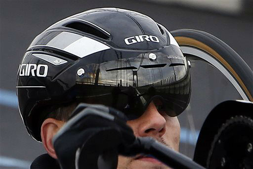 """<div class=""""meta image-caption""""><div class=""""origin-logo origin-image none""""><span>none</span></div><span class=""""caption-text"""">The Verrazano-Narrows Bridge is reflected in the goggles of a handcyclist as he crosses the span at the start of the New York City Marathon. (AP Photo/ Jason DeCrow)</span></div>"""
