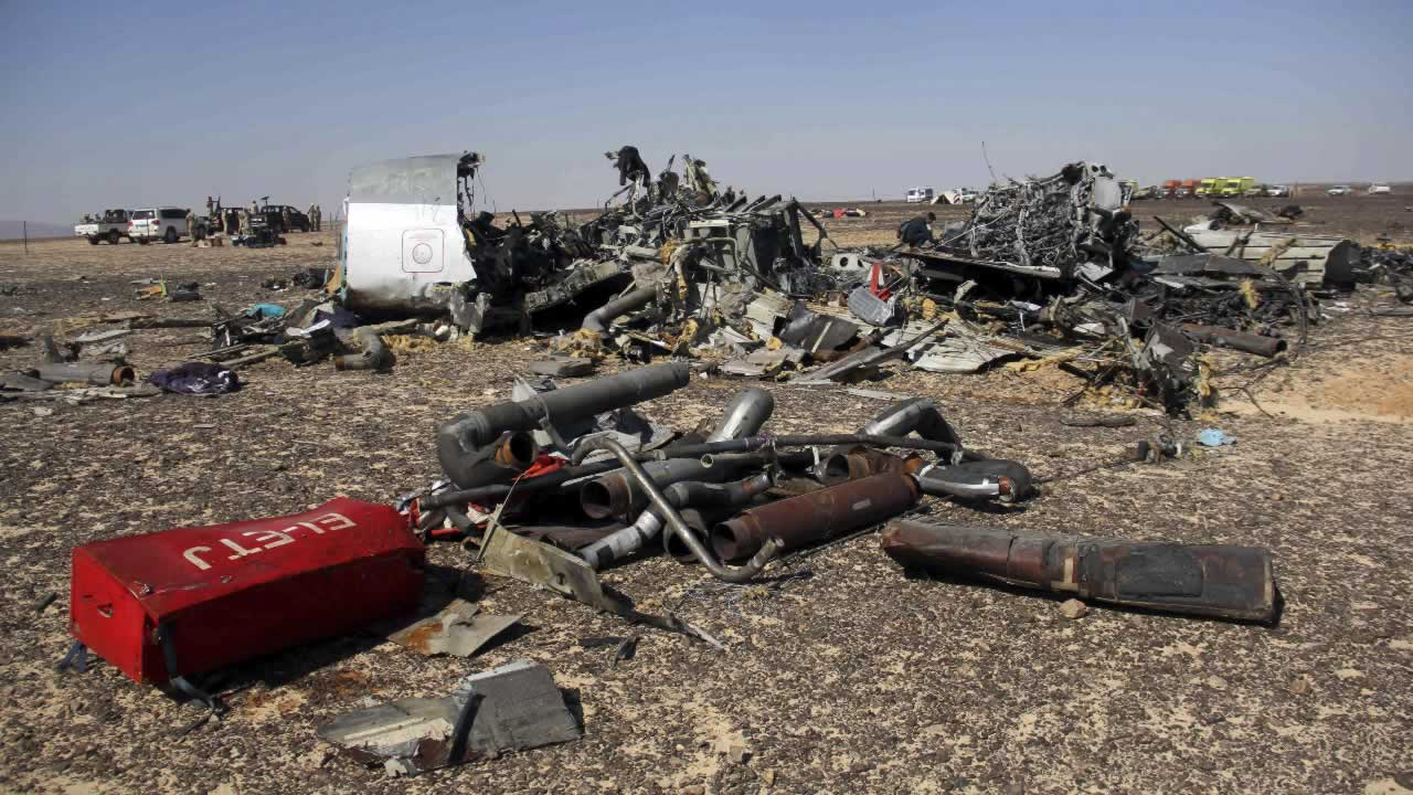 Debris of a Russian airplane at the site a day after the passenger jet bound for St. Petersburg, Russia crashed in Hassana, Egypt, on Sunday, Nov. 1, 2015.