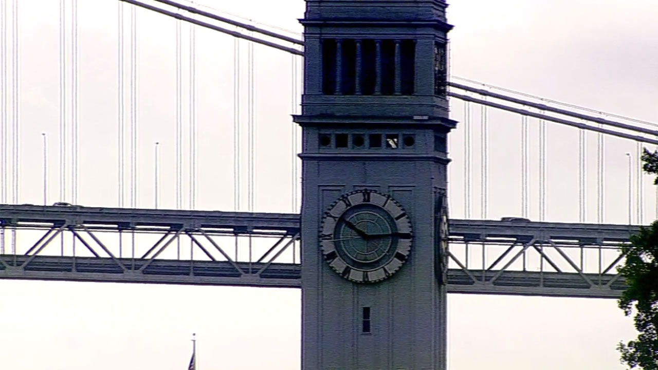 San Francisco's Ferry Building clock shows the time as 10:15 a.m. on Sunday, November 1, 2015.