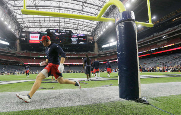 <div class='meta'><div class='origin-logo' data-origin='none'></div><span class='caption-text' data-credit='AP Photo/ Patric Schneider'>Houston Texans defensive end J.J. Watt warms up before an NFL football game against the Tennessee Titans, Sunday, Nov. 1, 2015, in Houston.</span></div>