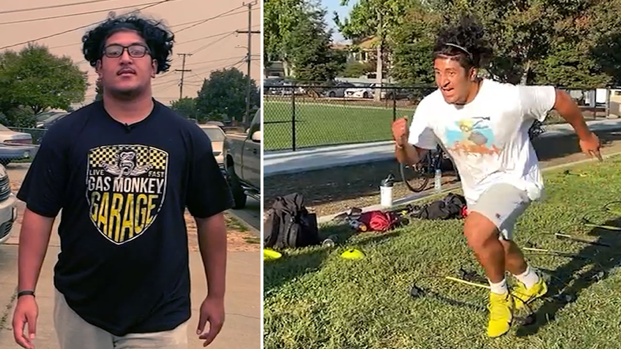 Joe Tongamoa of Saint Francis High School is pictured in these undated photos.