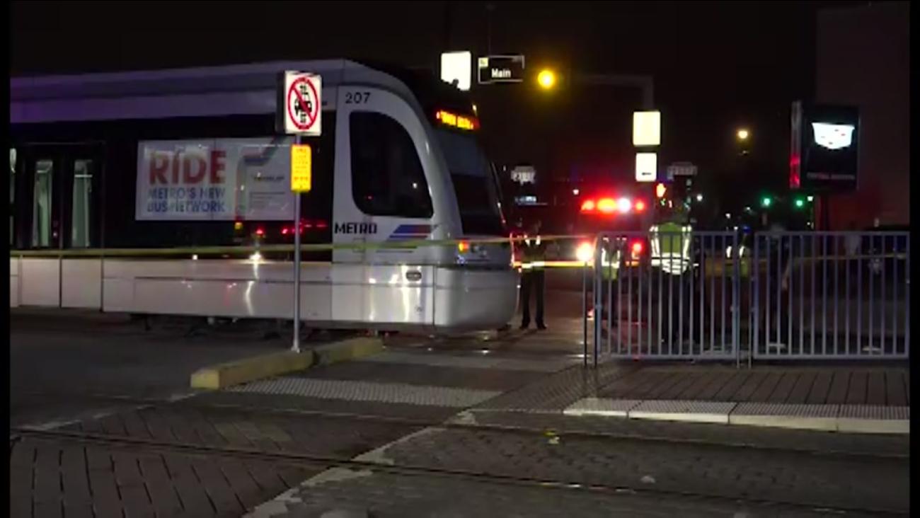 METRORail accident scene in Downtown Houston