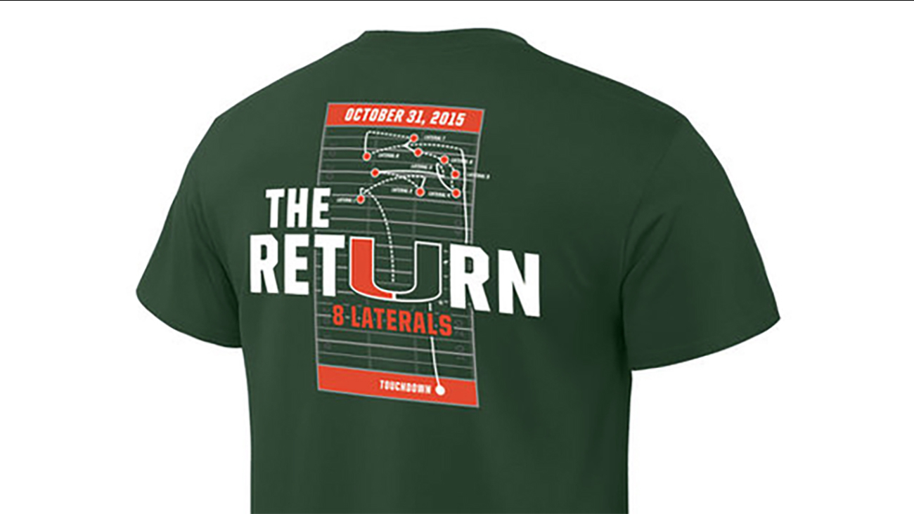 """The Return"" shirt being sold by the University of Miami to commemorate the controversial play"