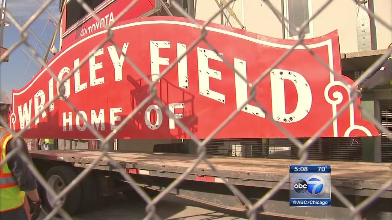 Wrigley marquee comes down