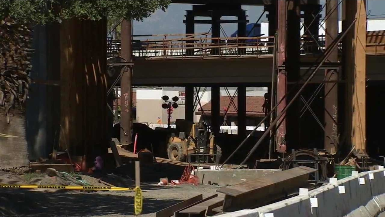 A temporary bridge collapsed in a construction zone on the 91 Freeway in Corona Friday, Oct. 9, 2015.