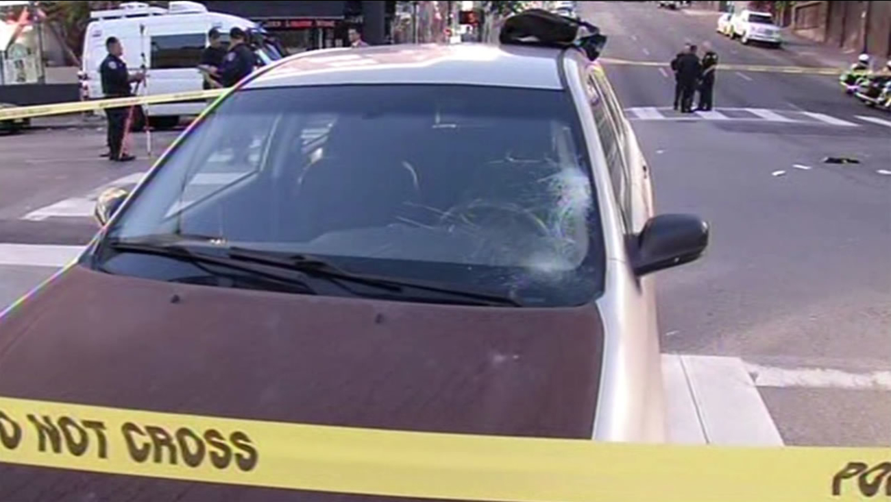 A jogger suffered life threatening injuries when he was hit by a car in San Francisco on Tuesday, November 3, 2015.