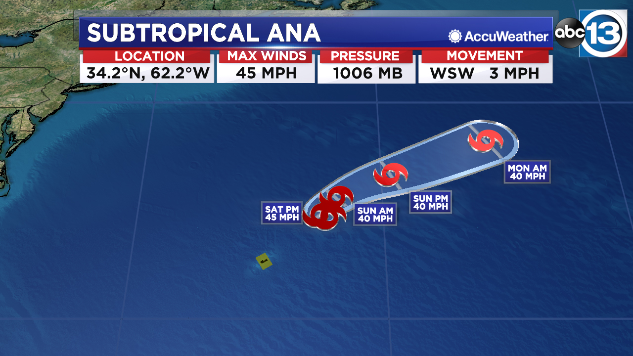 Gulf disturbance moves inland, Ana forms in the Atlantic near Bermuda