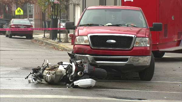 A motorcyclist was killed in a crash in Chicago's West Town neighborhood.