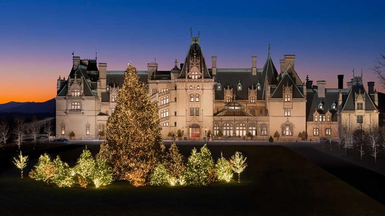 Biltmore facade during the Christmas season.