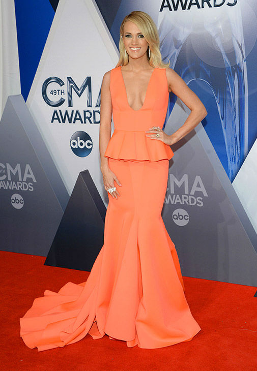 <div class='meta'><div class='origin-logo' data-origin='none'></div><span class='caption-text' data-credit='Evan Agostini/Invision/AP'>Carrie Underwood arrives at the 49th annual CMA Awards at the Bridgestone Arena on Wednesday, Nov. 4, 2015, in Nashville, Tenn.</span></div>