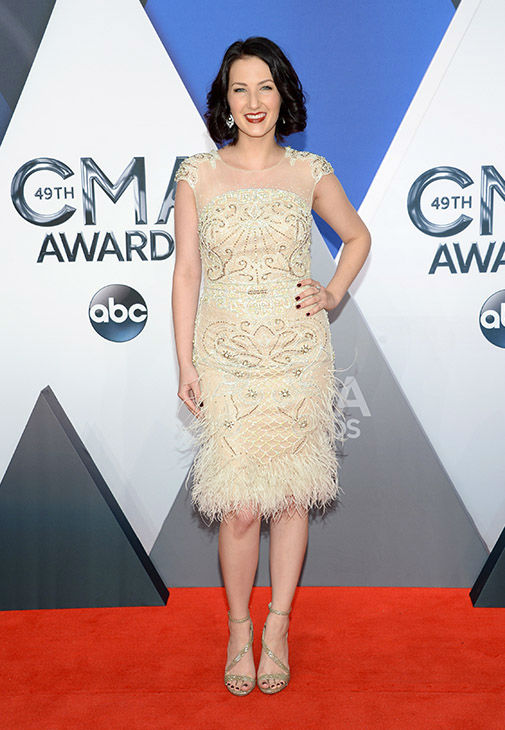<div class='meta'><div class='origin-logo' data-origin='none'></div><span class='caption-text' data-credit='Evan Agostini/Invision/AP'>Katie Armiger arrives at the 49th annual CMA Awards at the Bridgestone Arena on Wednesday, Nov. 4, 2015, in Nashville, Tenn.</span></div>