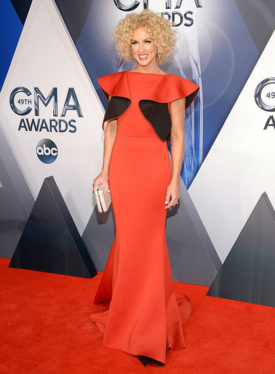 <div class='meta'><div class='origin-logo' data-origin='none'></div><span class='caption-text' data-credit='Evan Agostini/Invision/AP'>Kimberly Schlapman, of Little Big Town, arrives at the 49th annual CMA Awards at the Bridgestone Arena on Wednesday, Nov. 4, 2015, in Nashville, Tenn.</span></div>