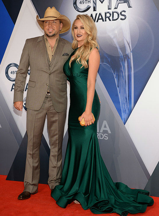 <div class='meta'><div class='origin-logo' data-origin='none'></div><span class='caption-text' data-credit='Evan Agostini/Invision/AP'>Jason Aldean, left, and Brittany Kerr arrive at the 49th annual CMA Awards at the Bridgestone Arena on Wednesday, Nov. 4, 2015, in Nashville, Tenn.</span></div>