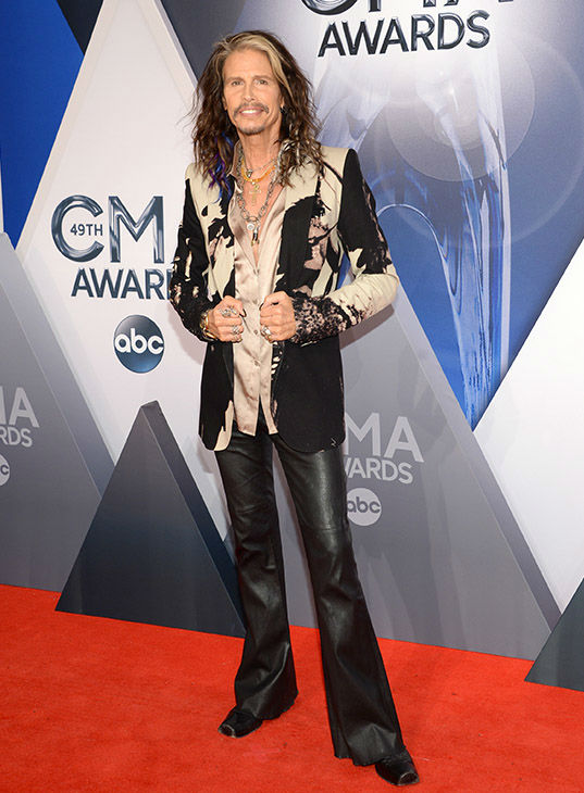 <div class='meta'><div class='origin-logo' data-origin='none'></div><span class='caption-text' data-credit='Evan Agostini/Invision/AP'>Steven Tyler arrives at the 49th annual CMA Awards at the Bridgestone Arena on Wednesday, Nov. 4, 2015, in Nashville, Tenn.</span></div>