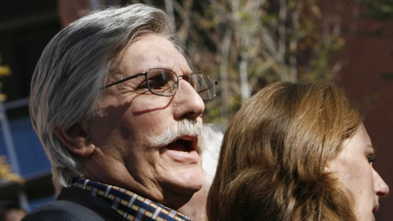 Fred Goldman, father of Ron Goldman, who was murdered in 1994, speaks to reporters after O.J. Simpson's sentencing hearing outside the Clark County Regional Justice Center.