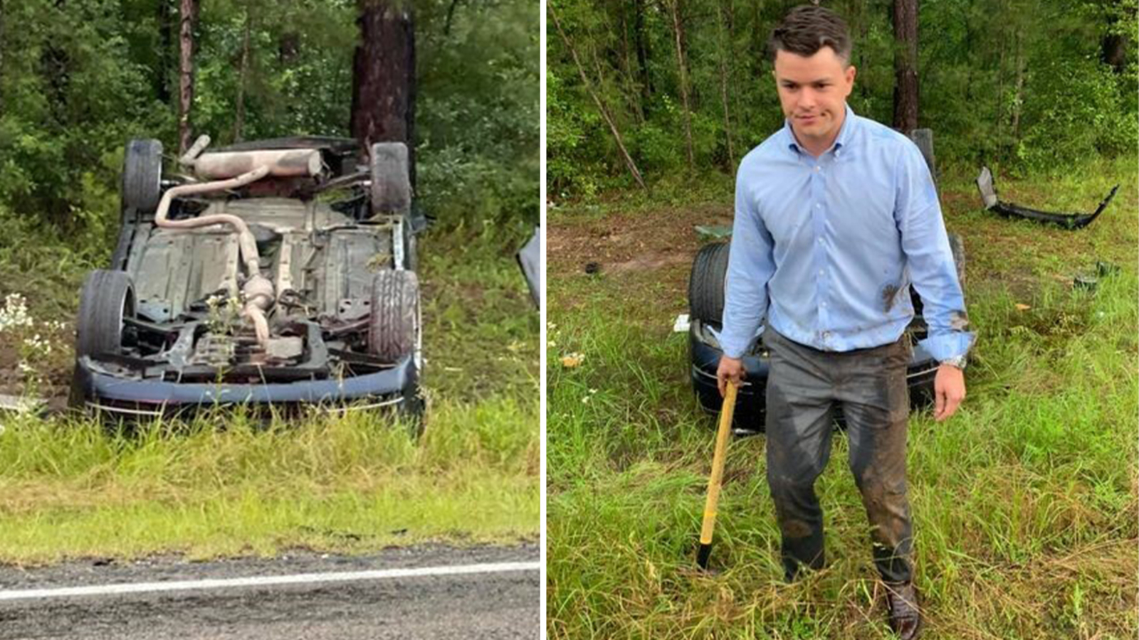 Trinity County attorney saves baby trapped in flipped car - all during a rain storm