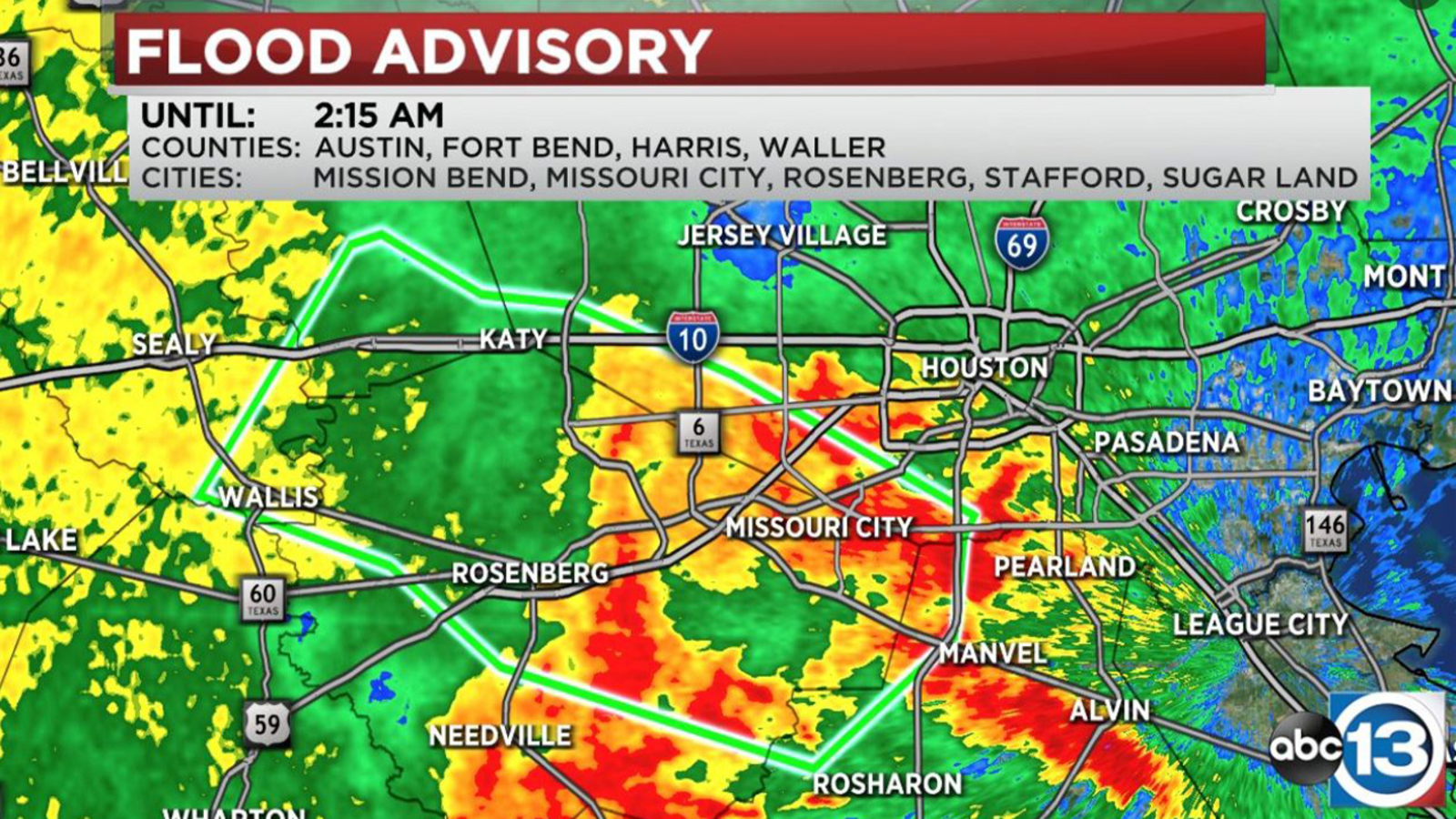 Flood Advisory in effect for Austin, Ft. Bend, Harris and Waller counties until 2:15 a.m.