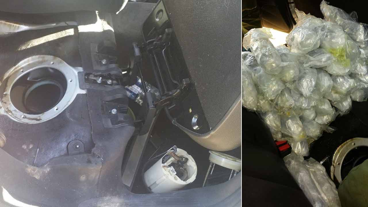Packages of meth and cocaine were found hidden inside a vehicle's fuel tank in Salton City Thursday, Nov. 5, 2015.