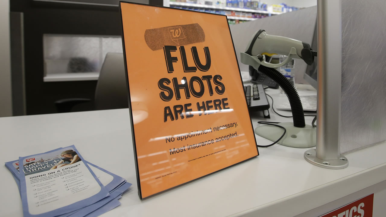 In this Sept. 16, 2014 file photo, a sign lets customers know they can get a flu shot in a Walgreen store in Indianapolis. (AP Photo/Darron Cummings, File)