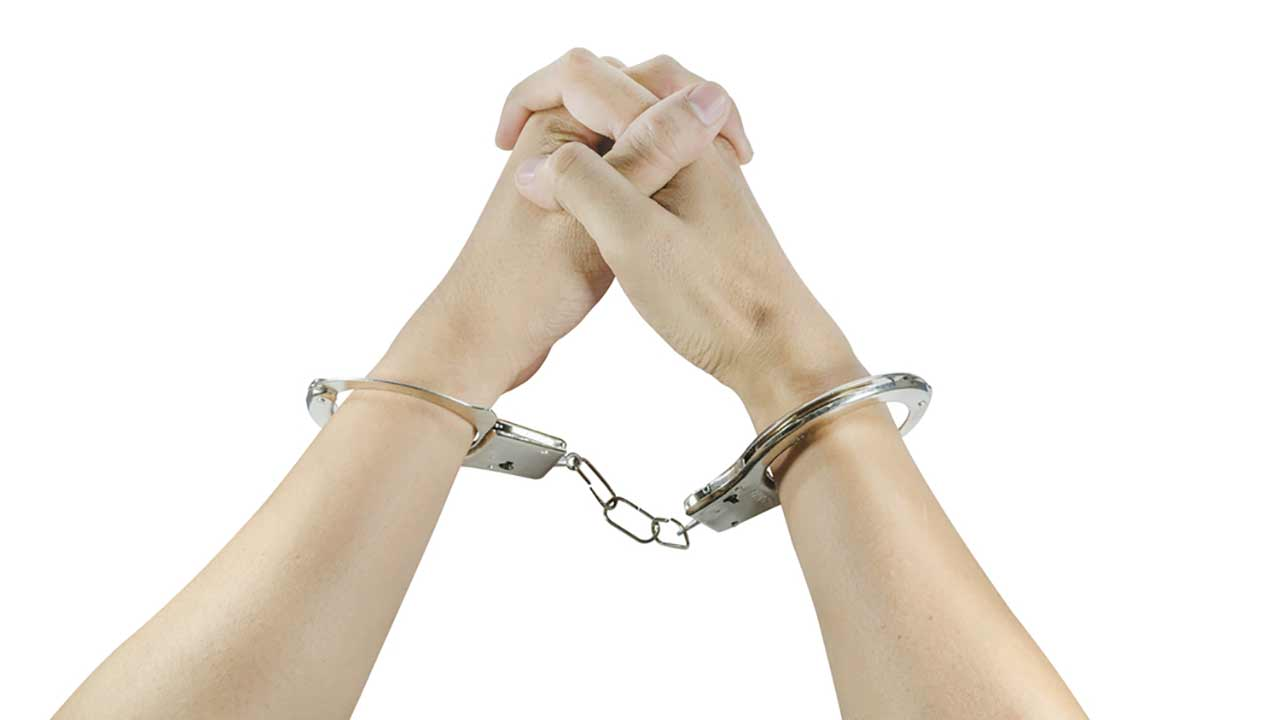 Handcuffs are seen in this file photo.