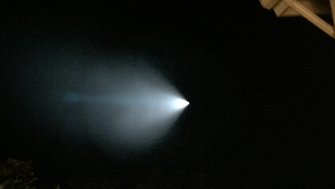 An ABC7 viewer submitted a photo of a mysterious bright white and blue light flying through the sky on Saturday, Nov. 7, 2015.