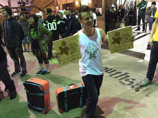<div class='meta'><div class='origin-logo' data-origin='none'></div><span class='caption-text' data-credit='KTRK Photo/ Kirk Sowers'>Cody McEntire holds up his two plaques for first place finishes at the Texas Skate Jam. He won best trick contests down the handrail and on the ledge.</span></div>