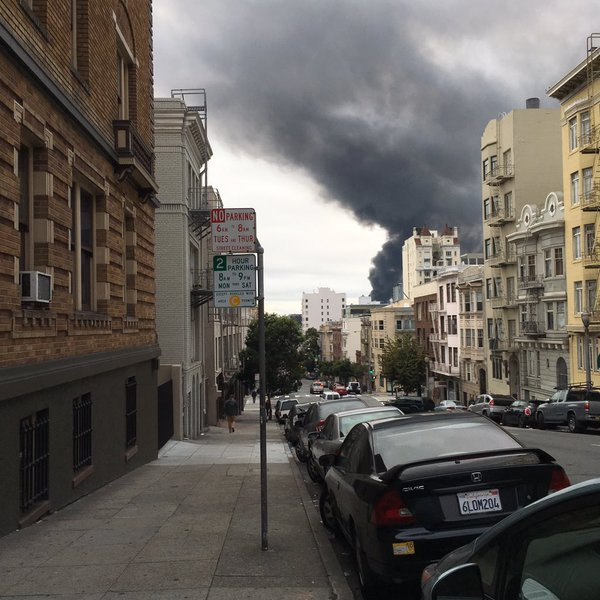 "<div class=""meta image-caption""><div class=""origin-logo origin-image none""><span>none</span></div><span class=""caption-text"">Crews battled a 3-alarm fire at Rolling Stock in San Francisco, Calif. on Sunday, November 8, 2015. (Photo submitted to KGO-TV by @LorenaBennett/Twitter)</span></div>"
