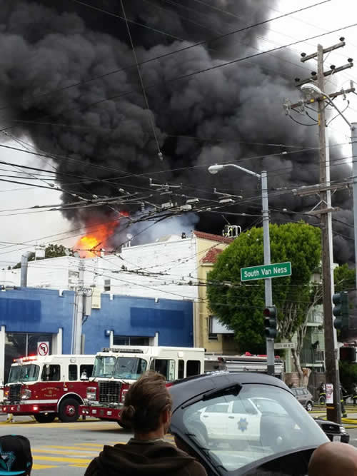 "<div class=""meta image-caption""><div class=""origin-logo origin-image none""><span>none</span></div><span class=""caption-text"">Crews battled a 3-alarm fire at Rolling Stock in San Francisco, Calif. on Sunday, November 8, 2015. (Photo submitted to KGO-TV by Elliot James Byrnes/Facebook)</span></div>"