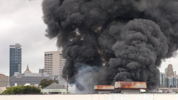 Crews battled a 3-alarm fire at Rolling Stock in San Francisco, Calif. on Sunday, November 8, 2015.