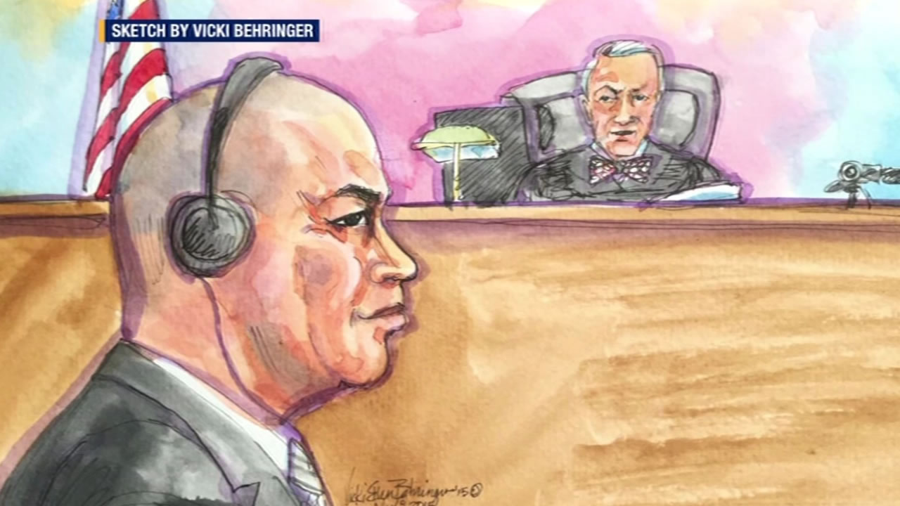 "This sketch shows Raymond ""Shrimp Boy"" Chow inside a San Francisco courtroom at the start of his trial November 9, 2015."