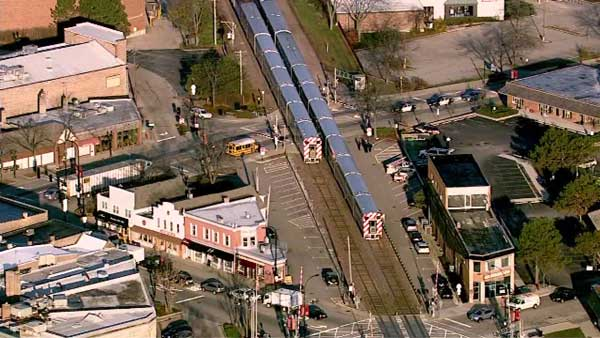 Metra trains are stopped in both directions near Barrington on the Union Pacific Northwest Line due to a pedestrian incident involving an inbound train, officials said.