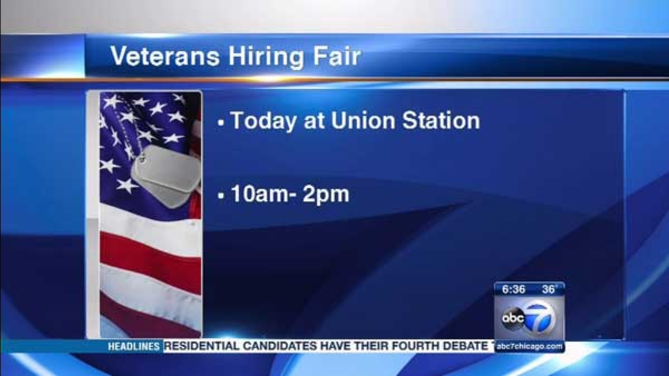 A job fair for veterans will be held at Chicago's Union Station on Tuesday.