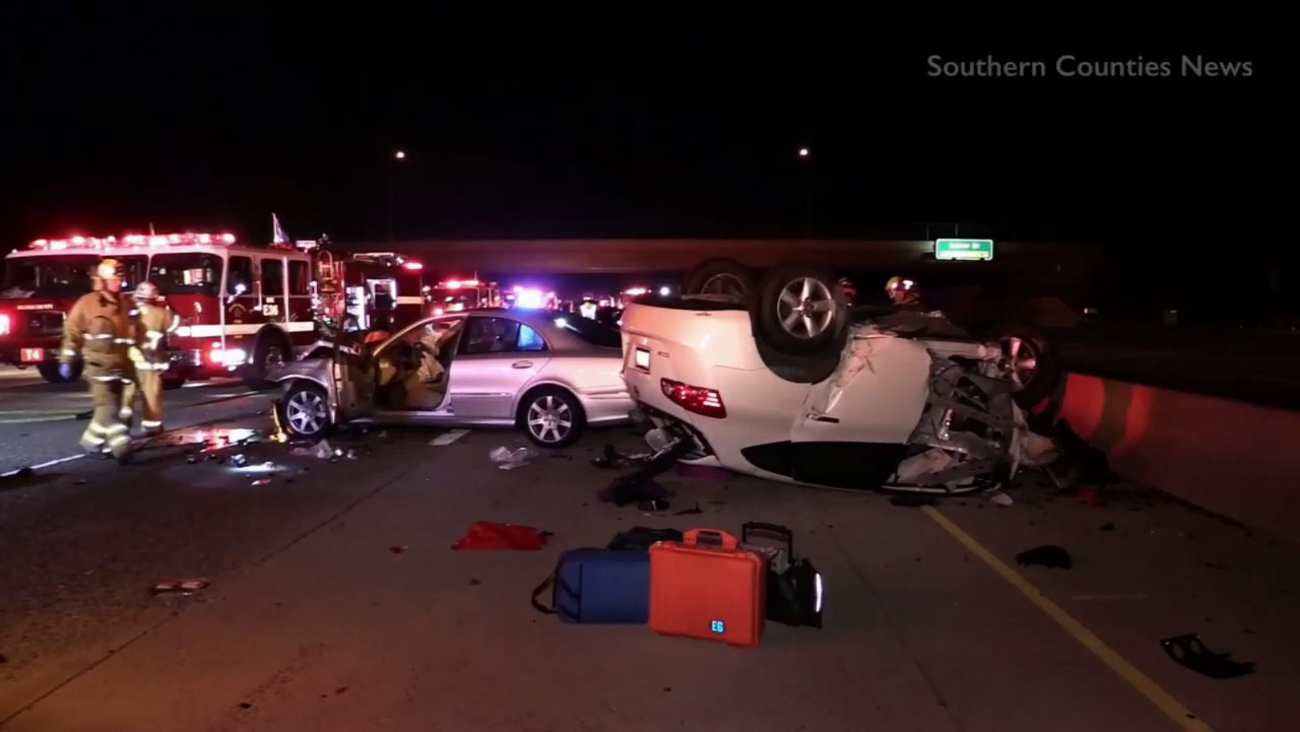 One person was killed and four others were hospitalized following a three-vehicle crash in Irvine Tuesday, Nov. 10, 2015.