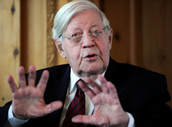 <div class='meta'><div class='origin-logo' data-origin='none'></div><span class='caption-text' data-credit='AP Photo/Odd Andersen, Pool'>Former German Chancellor Helmut Schmidt died Nov. 10 at age 96. He was the leader of West Germany from 1974 to 1982.</span></div>