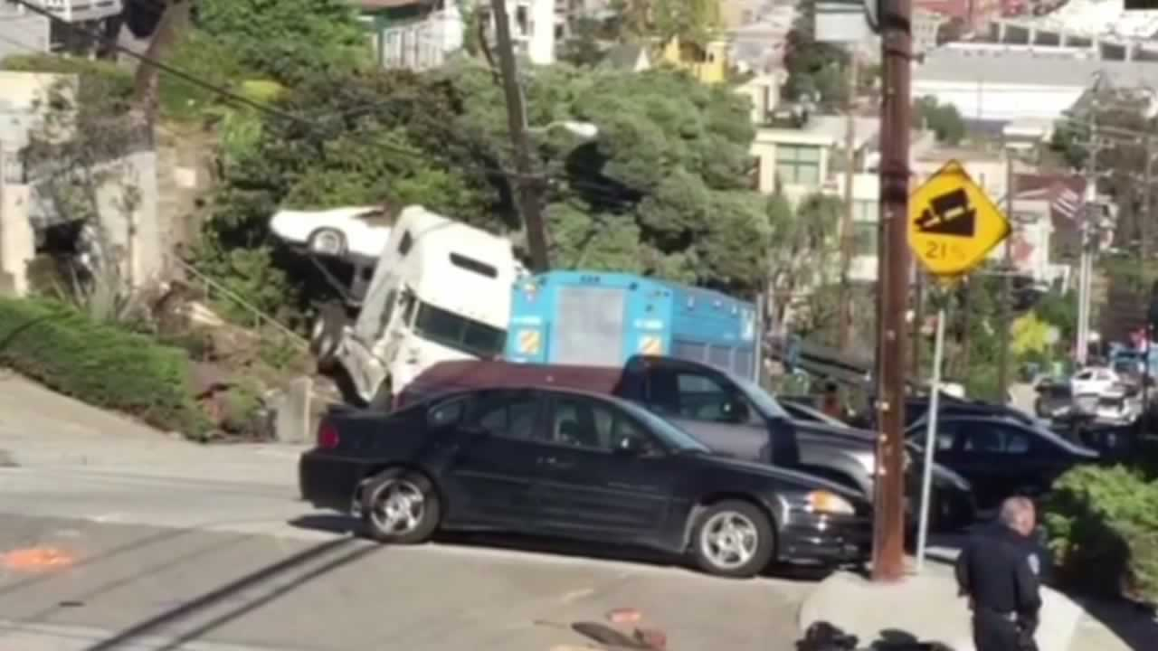 A big rig crashed into a power pole at De Haro and 20th streets in San Francisco's Portrero Hill neighborhood on Tuesday, November 10, 2015.