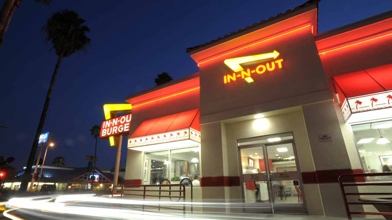 Cars exit the drive-thru at In-N-Out Burger on Friday, June 11, 2010, in the Hollywood area of Los Angeles.