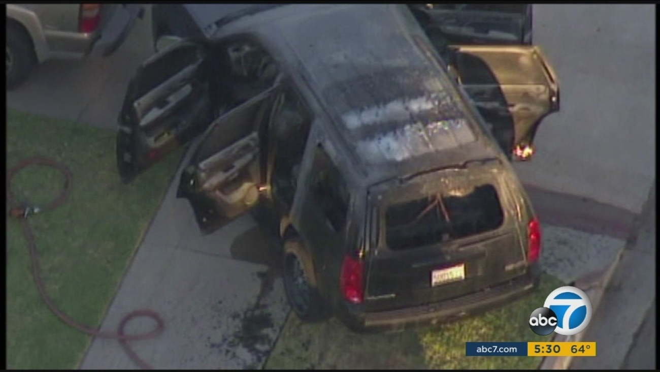 Three bodies were found in a burning SUV in Orange on Monday, Nov. 9, 2015.