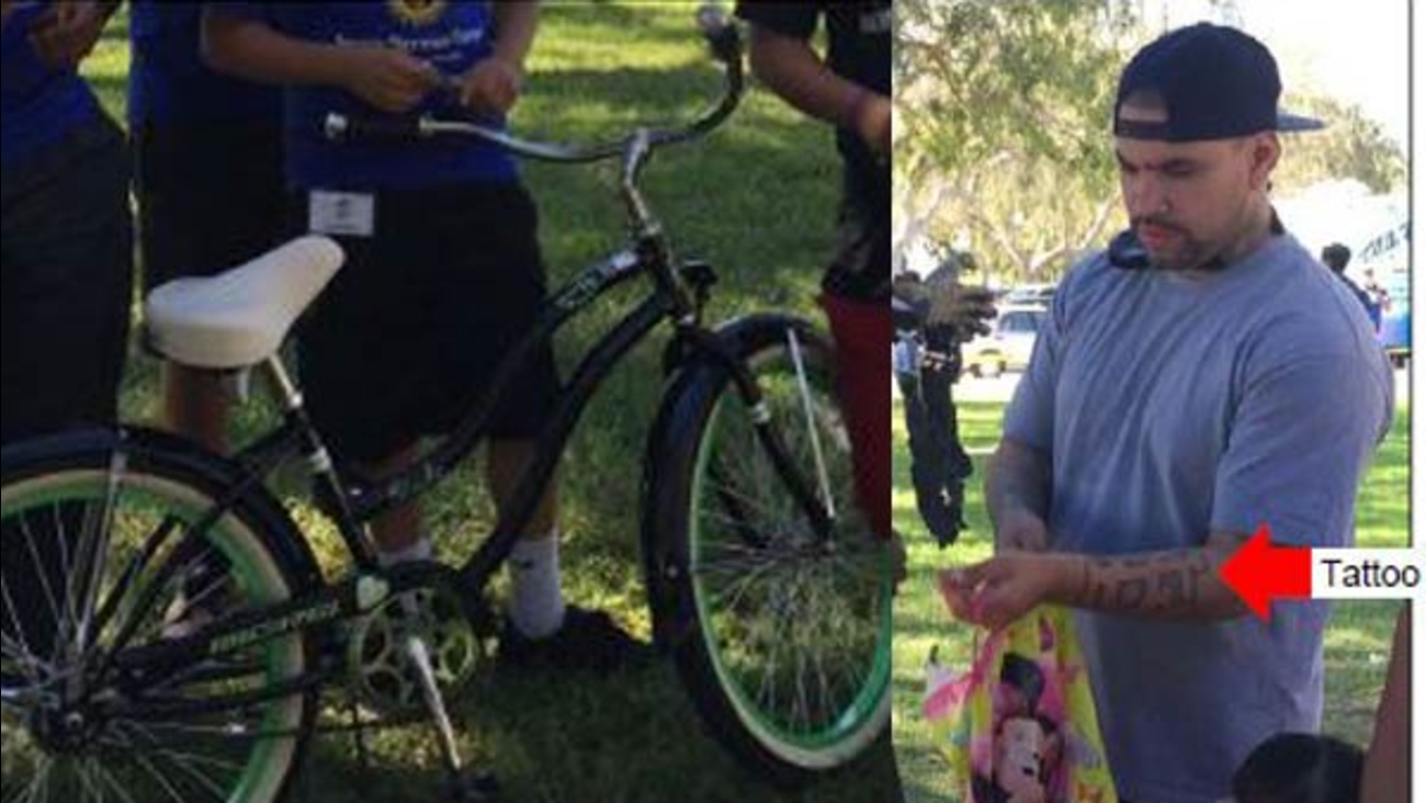 Detectives are searching for a suspect (right) after they said he stole a bike (left) from a boy at Ted Watkins Memorial Park on Saturday, Oct. 31, 2015.