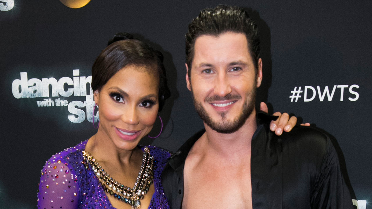 Tamar Braxton and Val Chmerkovskiy pose for a photo on Monday, Nov. 2, 2015.