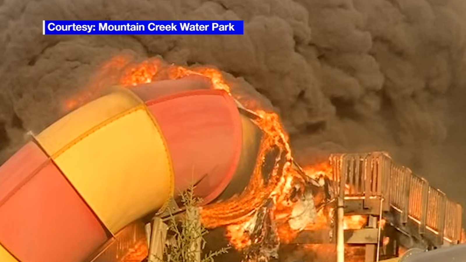 'High Anxiety' waterslide goes up in flames at Mountain Creek Water Park in Vernon, New Jersey