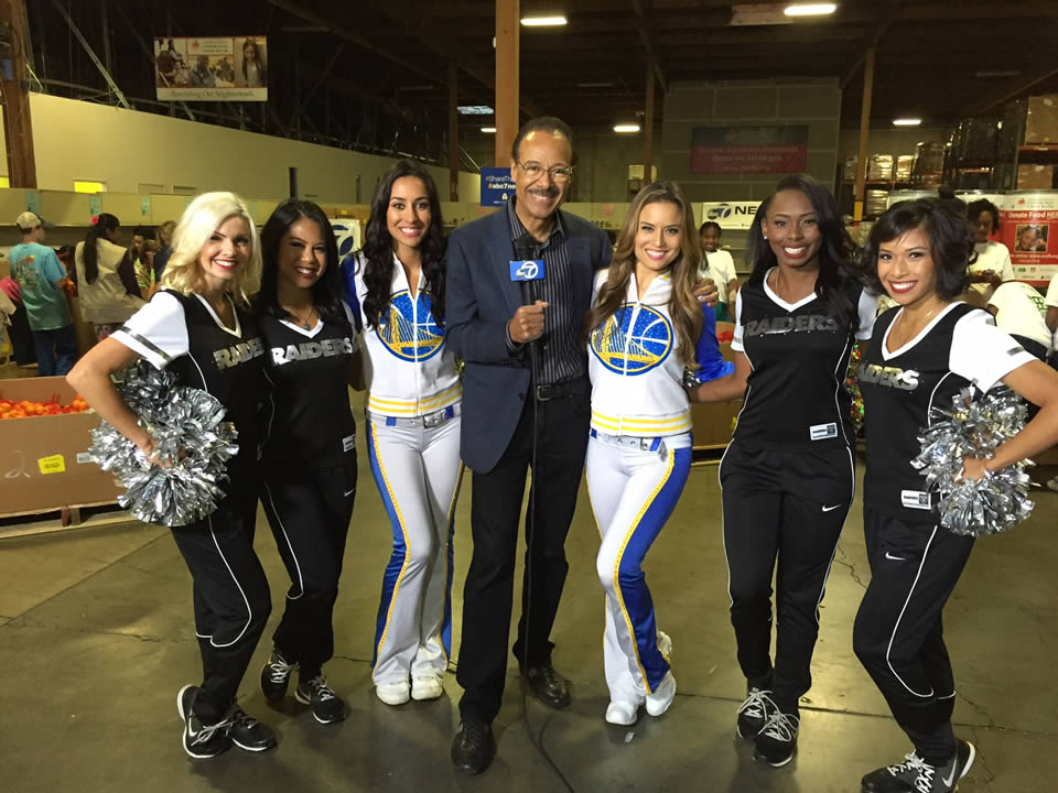 "<div class=""meta image-caption""><div class=""origin-logo origin-image none""><span>none</span></div><span class=""caption-text"">Spencer Christian poses with the Raiderettes and Warriors Dance Team at the Alameda County Community Food Bank in Oakland, Calif. on Wednesday, November 11, 2015. (KGO-TV)</span></div>"
