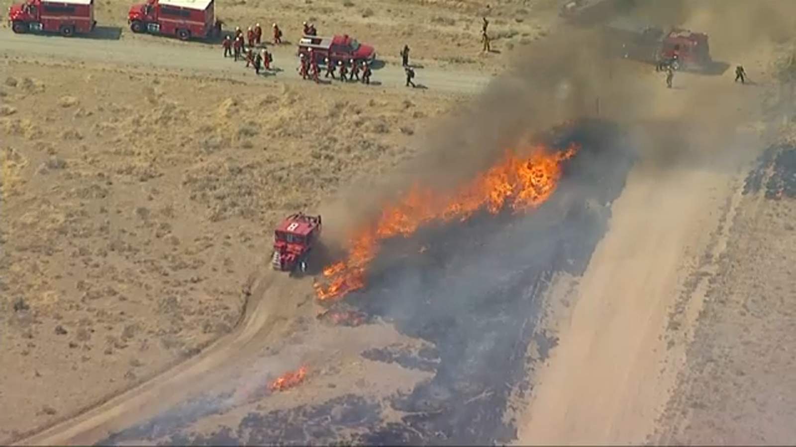 King Fire: Fast-moving brush fire erupts in Lancaster amid scorching temperatures, high winds